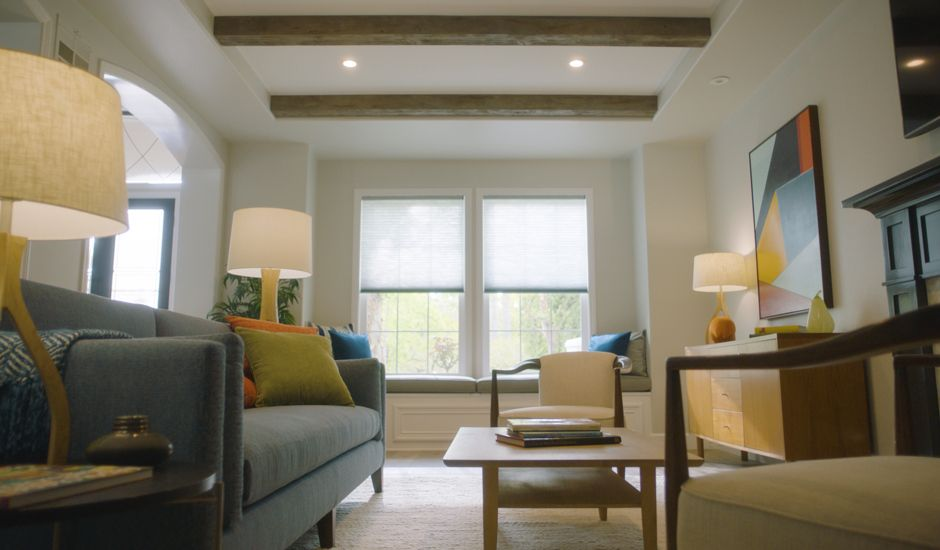 motorized cellular shades in living room