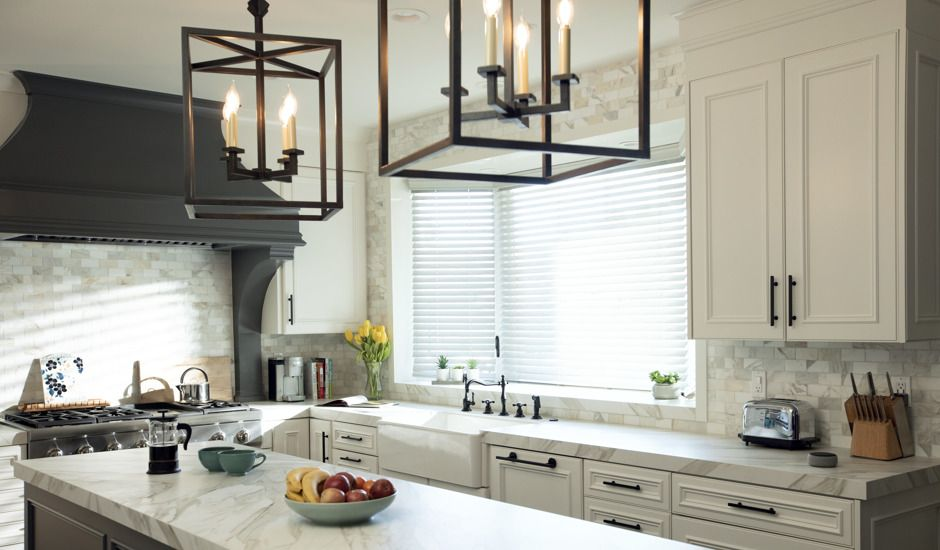 wood blinds in kitchen