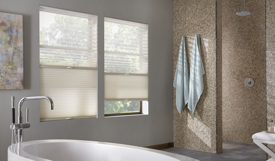 honeycomb shades in bathroom