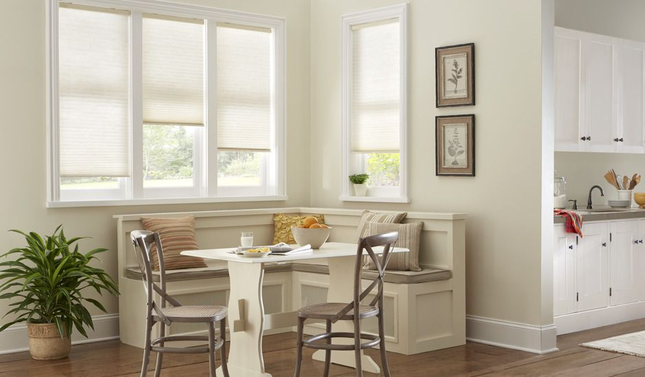 honeycomb shades in dining room