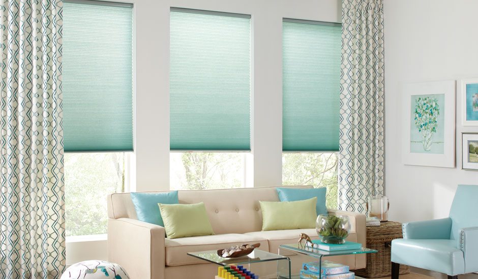 seafoam-green-cellular-shades-patterend-curtains