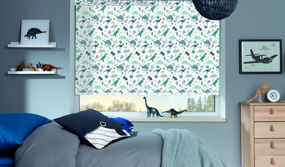 graphic roller shade in bedroom