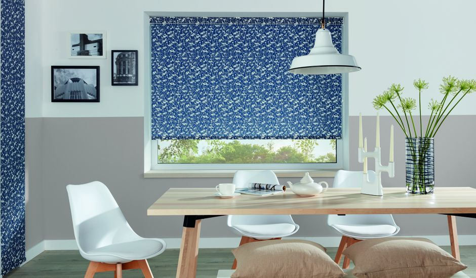 graphic shades in dining room