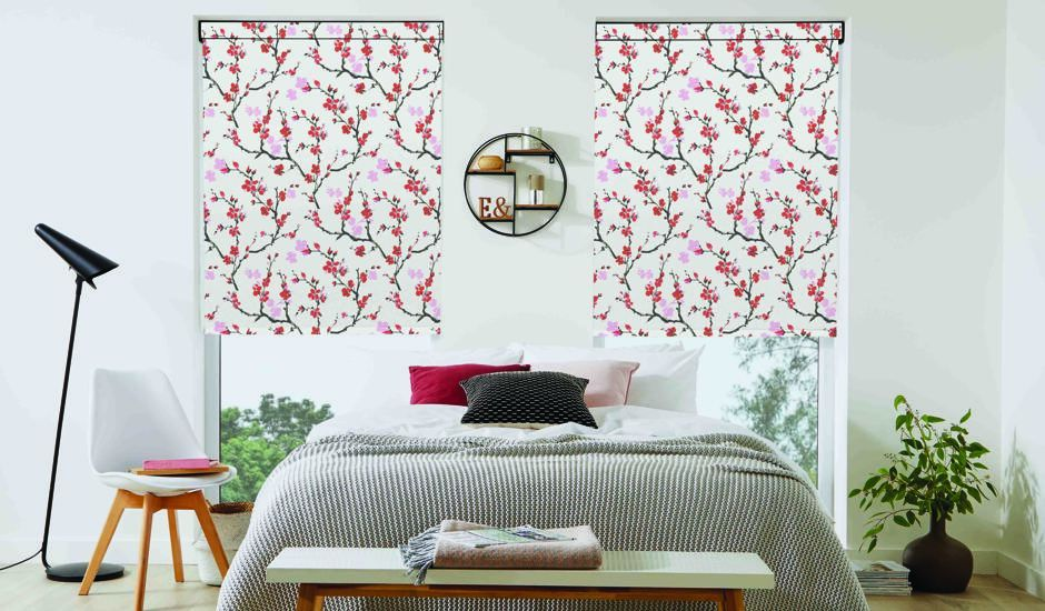 graphic shades in bedroom