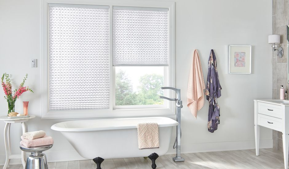 pleated shades in bathroom