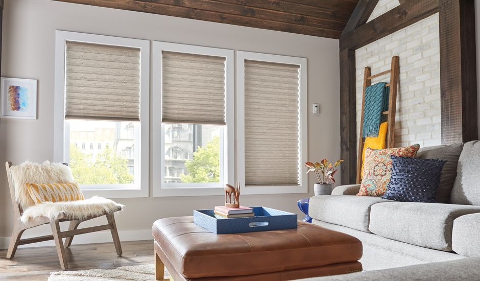 pleated shades in living room