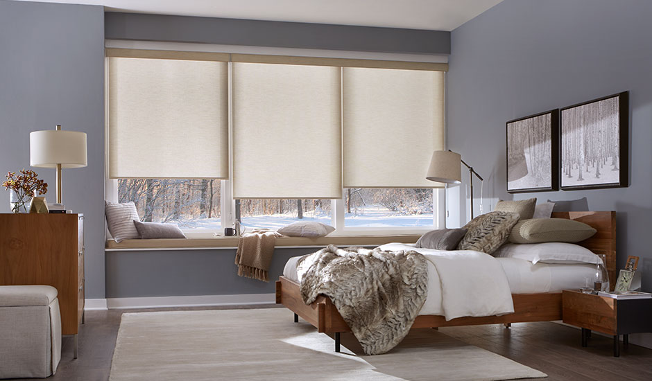 tan-roller-shades-moutain-home-bedroom