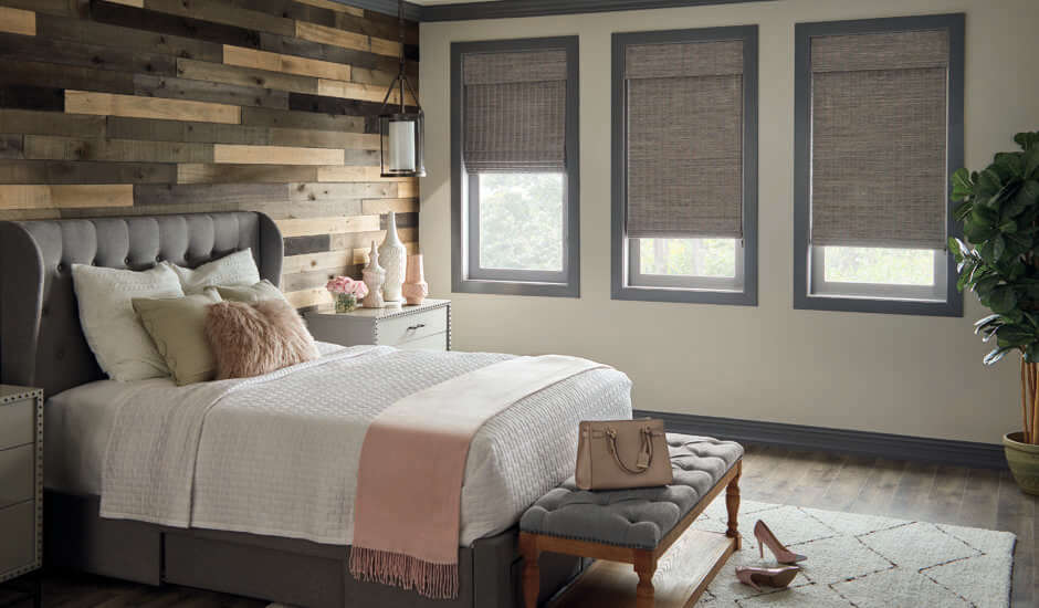 Gray Roman Shades in Bedroom