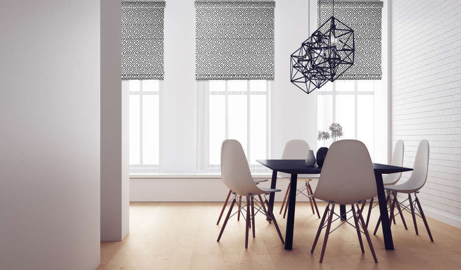 Black and White Roman Shades in Dining Room