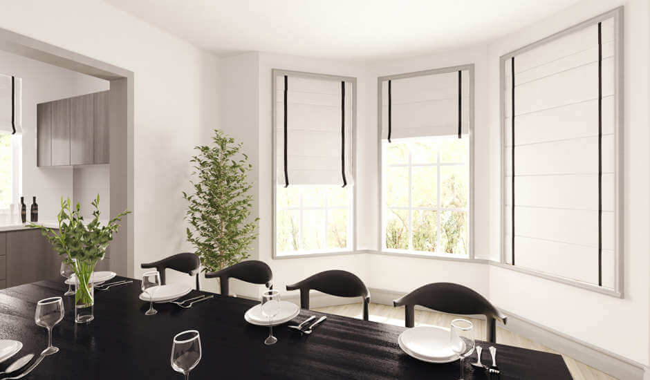 White Striped Roman Shades in Dining Room