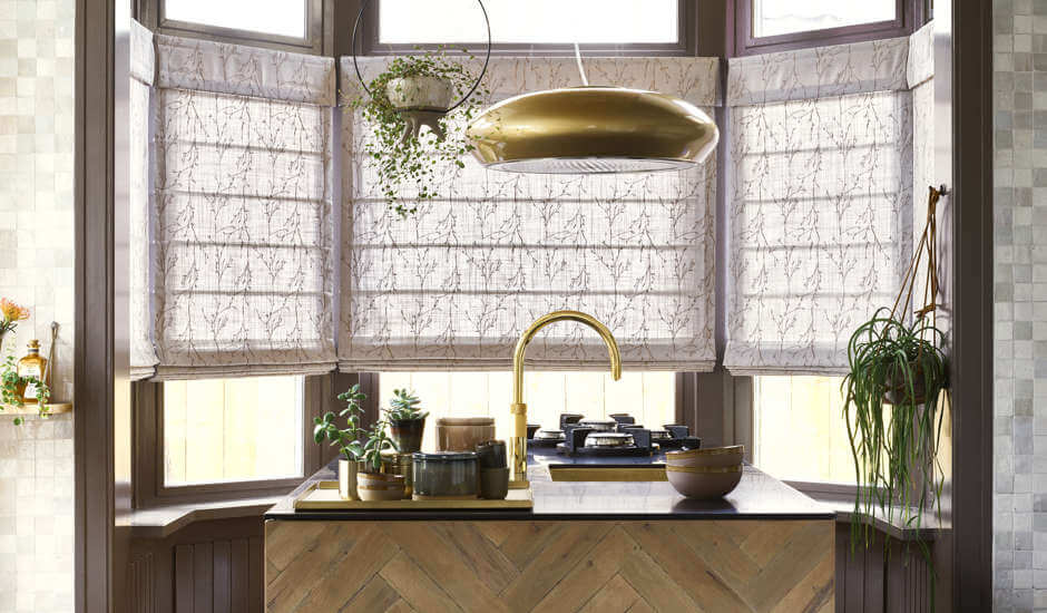Patterned Roman Shades in Kitchen