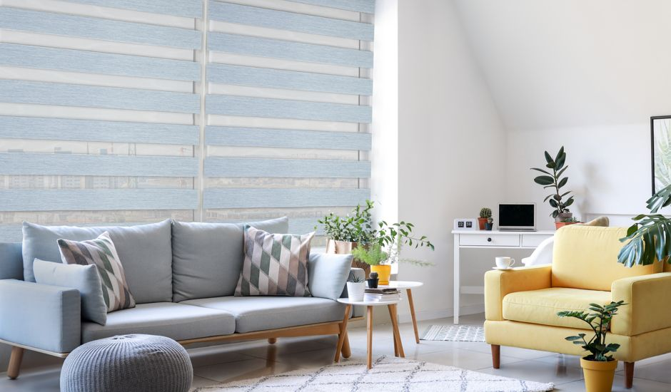 dual sheer shades in living room