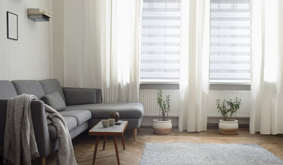 sheer shades in living room