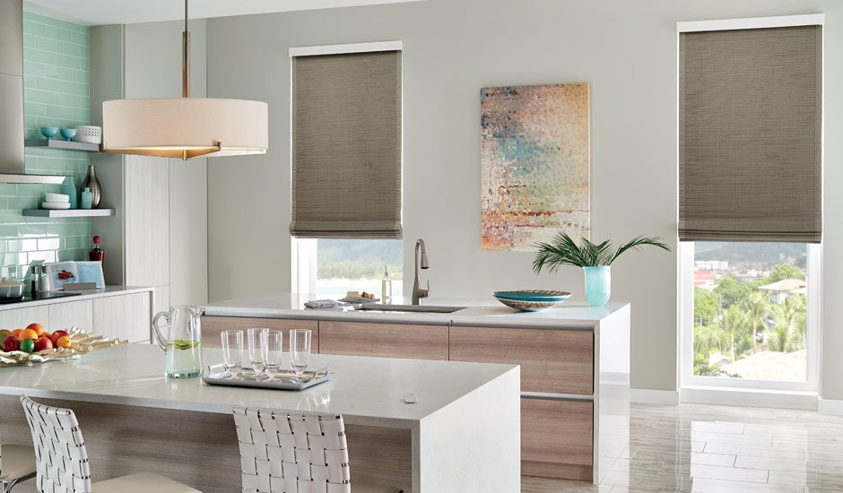 contemporary-kitchen-tan-woven-wood-shades