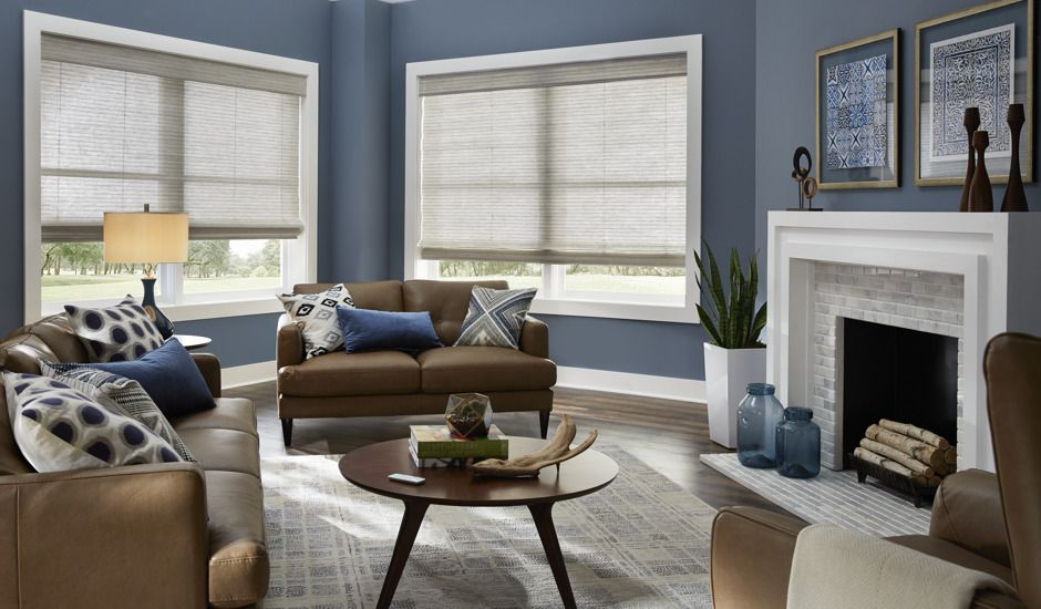 woven shades in living room