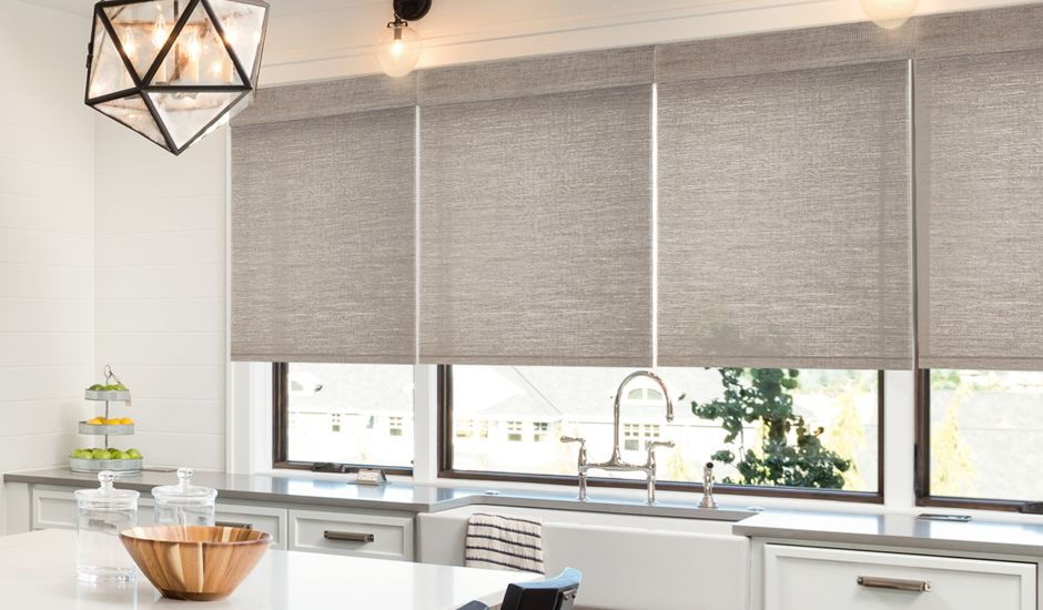 woven wood shades in kitchen