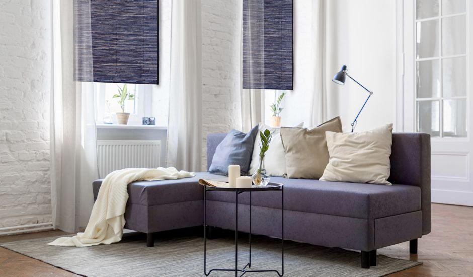 woven wood shades in living room