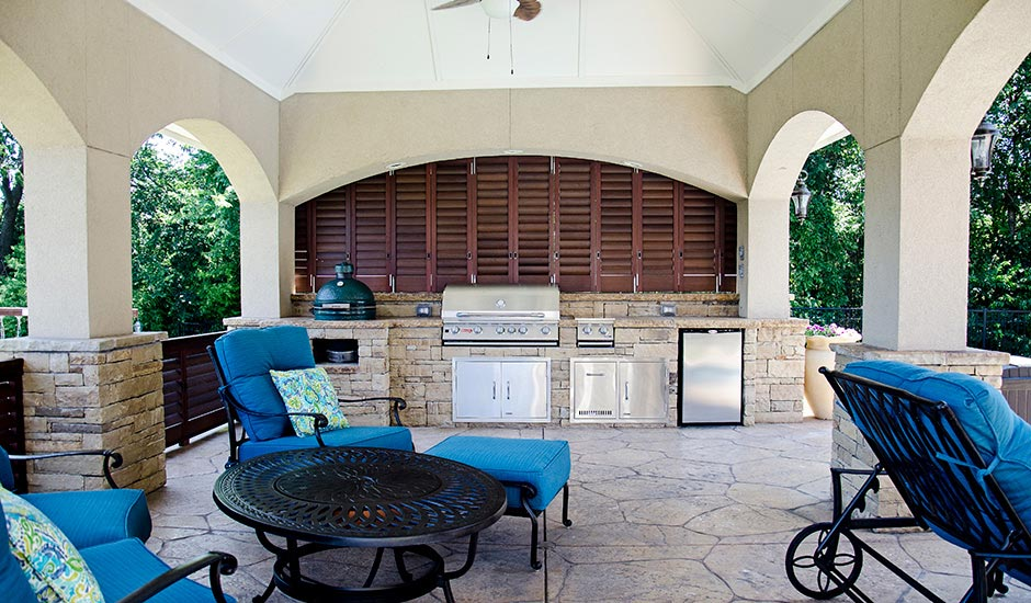 Walnut Aluminum Shutters - Outdoor Kitchen