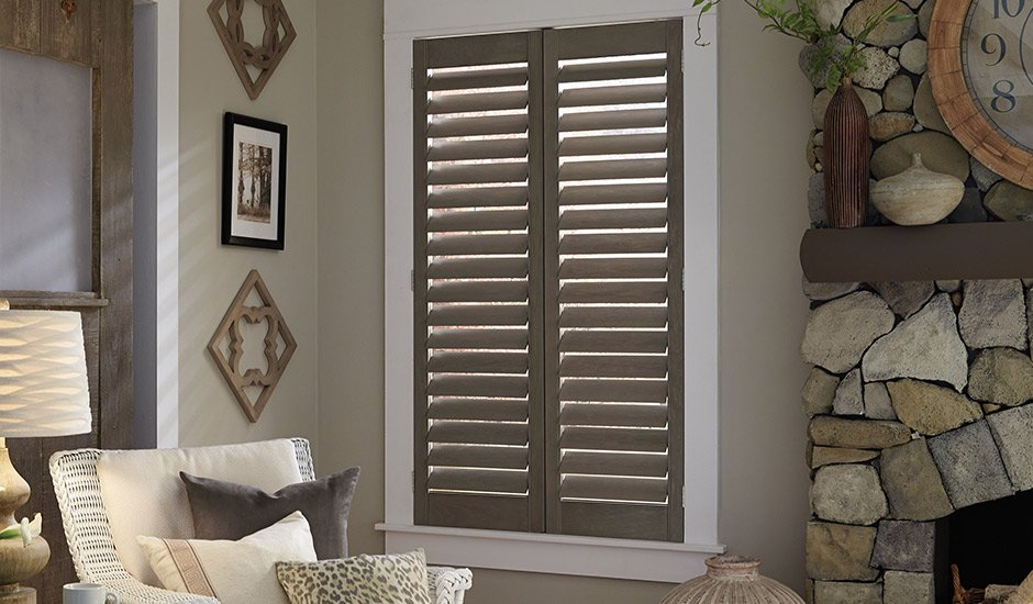 Grey Wood Plantation Shutters
