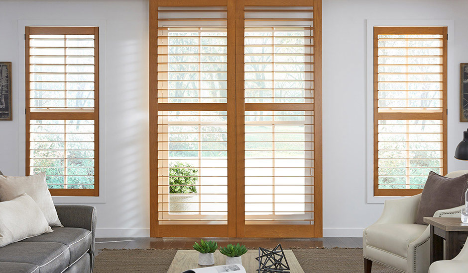 Light Wood Plantation Shutter French Door