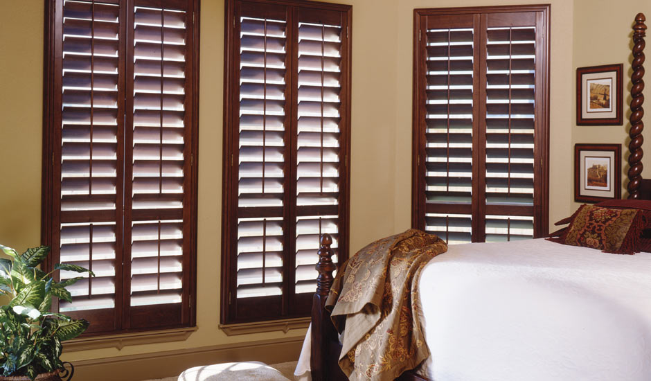 dark-brown-wood-shutters-bedroom