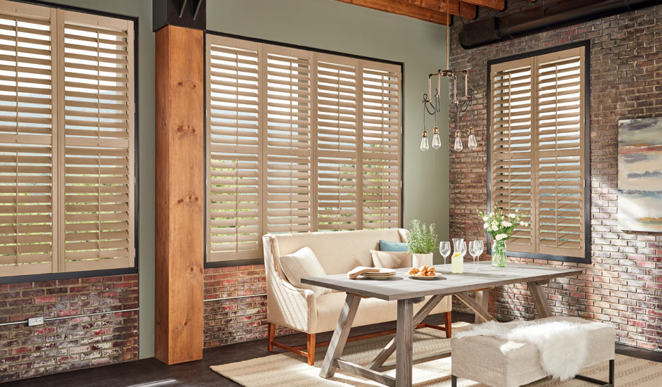 tan-wood-shutters-rustic-dining-area