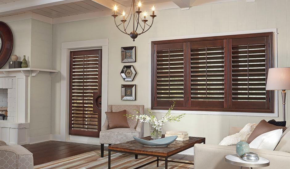 wood shutters in living room