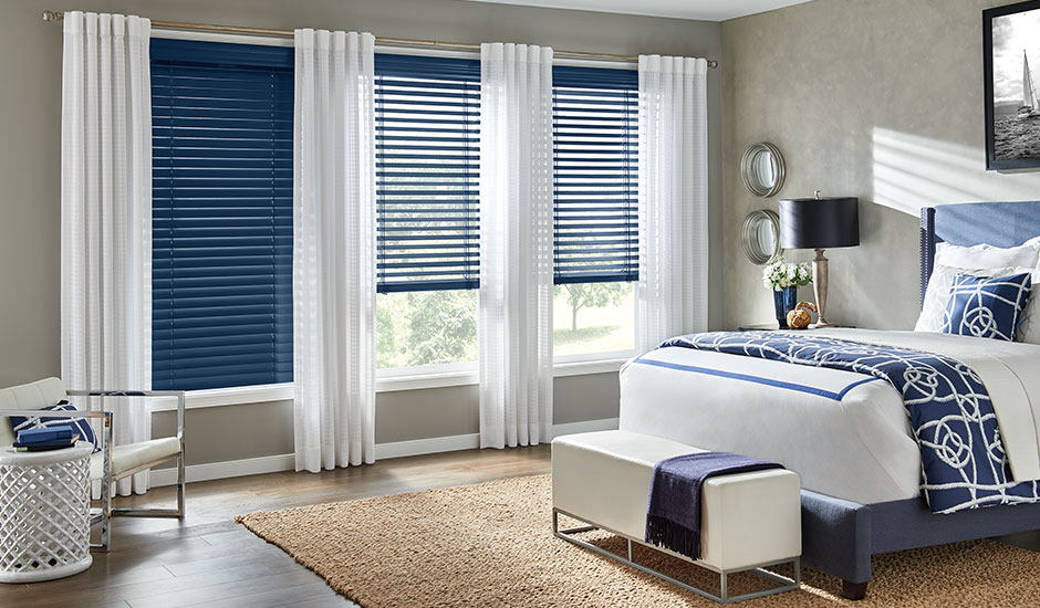 Blue Blinds with White Panel Drapes