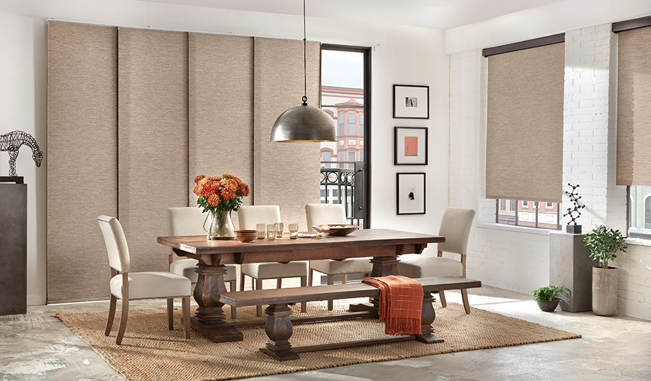 dining-room-tan-woven-wood-sliding-panel-blinds