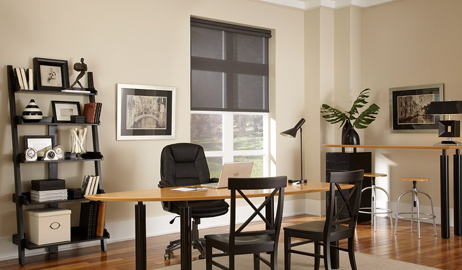 black-sheer-roller-shades-office