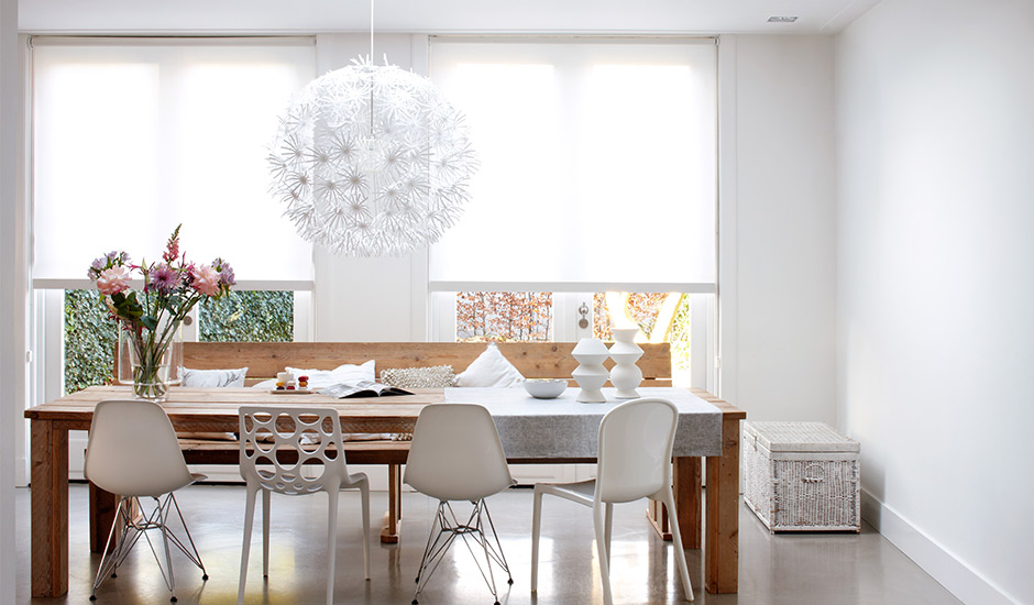white-roller-shades-modern-kitchen