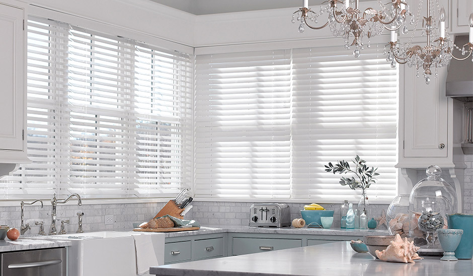 Kitchen with Classic White Wood Blinds