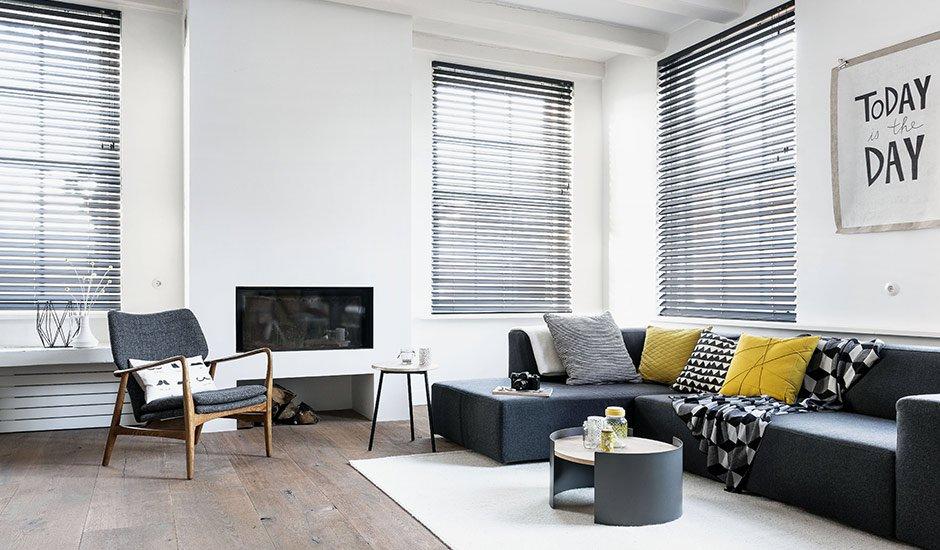 Black Wood Blinds Masculine Living Room
