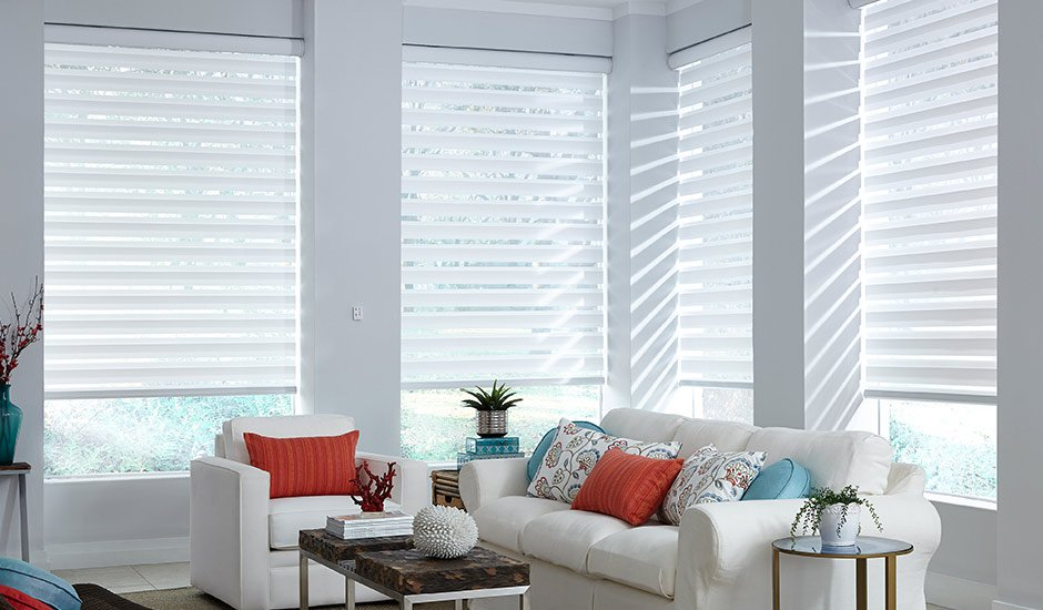 White Faux Transition Shades Living Room