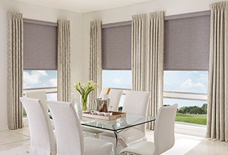 Roller Shades with Pleated Drapes